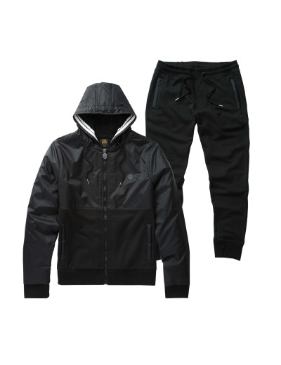 Aspen Jet Black Jogger Suit Ribbed Leg Cuffs and Waistband