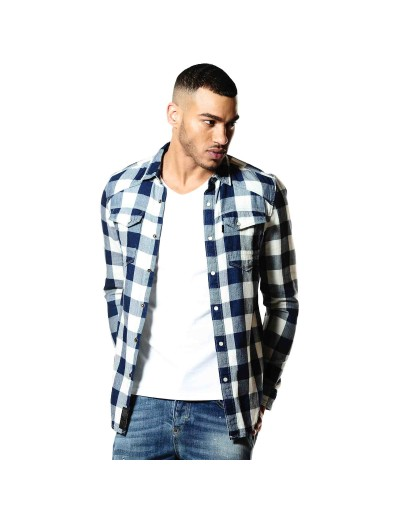 Bronco 343 Navy/White Checked Denim Shirt