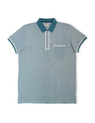 Lennox Seapine Green Woven Textured Polo Shirt