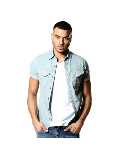 Oblivion 338 Mens Light Blue Wash Denim Shirt